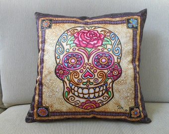 "Sugar Skull Rosey Pillow Cover, Decorative Pillow, Sugar Skull Art, 18""x18, Dan Morris, ,Day of the Dead, Home Decor Pillow cover & insert"