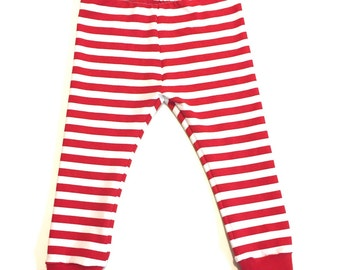 Red and White Stripe Leggings