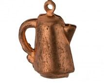Vintage 3 dimensional coffee pot charm. 20x17mm Pkg. of 1.  b9-0674(e)