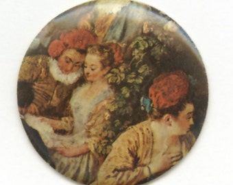 Vintage brass disk with Renaissance painting. West Germany 35x35mm. b5-768(e)