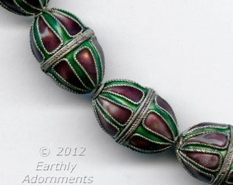 Enameled copper oval bead in green and purple with twisted silver wire.  16 x 12mm.  Package of 1. B2-493(e)