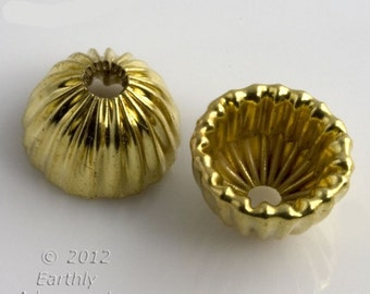 Vintage corrugated brass bead cap.  10x7mm. 10 pcs. b9-2176(e)