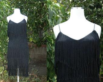1920s Inspired Black Fringe Flapper Dress // 20s Style Gatsby Party Dress Flapper Costume // David Howard Climax Karen Okada