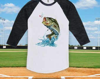 Jumping Bass baseball tshirt for men women kids, fishing t-shirt,father's day gift, birthday gift, fishing trip t-shirt, gone fishing-CT-061