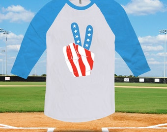Fourth of July Peace Sign raglan baseball tee, kids fourth of july, baseball tshirt for men women,4th of july,american flag, july 4th-CT-484