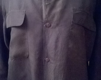 Blue long sleeve silk blouse