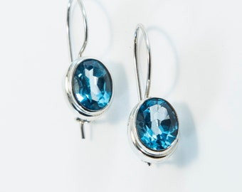 Oval-Cut Blue Topaz Earrings