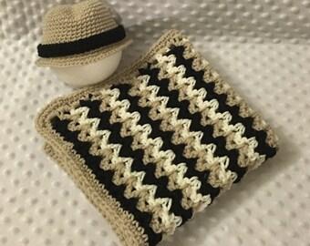 Littlebits Newborn Baby Crocheted White, Beige & Black Textured Layer Blanket and Matching Fedora Hat - Handcrafted in Australia RTS