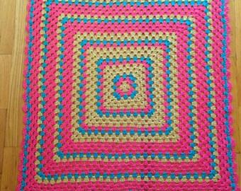 Grany Square Crochet Pink, Blue, Light Brown Baby Blanket