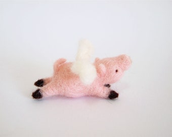 Needle Felted Flying Pig - Needle Felted Pig - Felted Flying Pig - Felted Pig - Flying Pig - Felt Pig