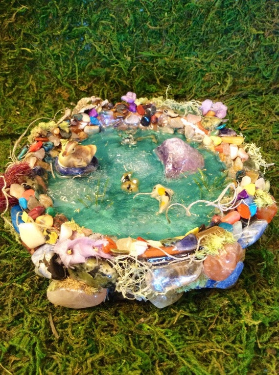Handmade miniature fairy garden duck and koi fish pond for Mini koi fish
