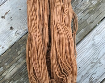 Hand Dyed Worsted Weight Yarn Light Brown