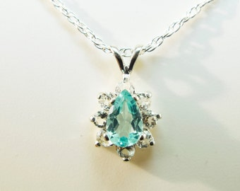Apatite Pendant, Genuine Gemstone 8x5mm Pear Shaped 1ct, Pendant with a White Topaz Halo, in 925 Sterling Silver With 18inch Chain Included