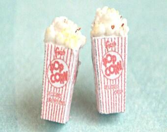 popcorn stud earrings-miniature food jewelry,movie night