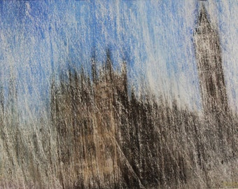 Лондон #БигБен #London #BigBen #картина #пастель #пейзаж #landscape #pastel #painting