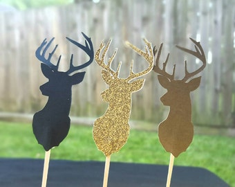 Deer Buck Cupcake Toppers Glitter Gold, black, brown 12 pc. Pick your color Hunting