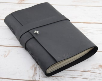 Prayer Journal - Christian Journal - Leather Journal -  Personalized Travel Journal - Black Leather Bound Journal- Large  Bound Book - Diary