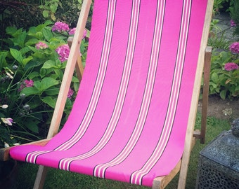 New Listing! Up-cycled recovered Vintage British Deckchair Pink Stripes