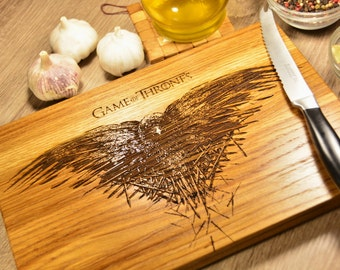 Game of Thrones raven crow Cutting Board, Birthday Gift, Anniversary, Gift for Him
