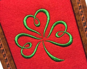Shamrock 02 5x7 and 4x4 Unique Urban Machine Embroidery Design digital File