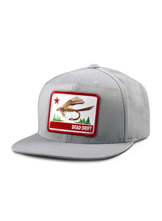 Fly fishing hat california flag gray flat bill snap back by for Fishing flat bill hats