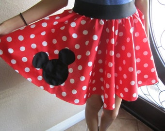 Minnie Mouse Skirt with Mickey Patch
