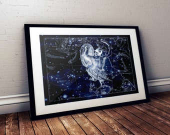 Orion Astronomy Print, Orion's belt, Vintage Print, Metallic Print, Orion constellation, New larger size!