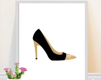 Shoe print - high heel art print - fashion illustration - black and gold - shoe art