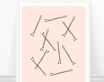 Bobby Pins Print - Bathroom Art - Vanity Art Print - Pink and Black Fashion Print