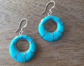 Turquoise Donut Sterling Silver Earrings