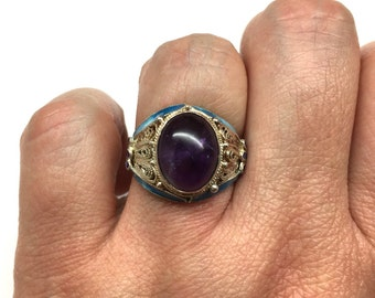 Amethyst Ring - Chinese Vintage Amethyst Sterling Silver Enamel Filigree Ring from the 60s