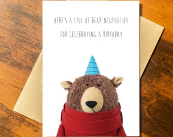 Birthday Bear Card, Funny Birthday Card, Funny Recycled Paper Greeting Card - Recycled Paper made in USA using Wind Power