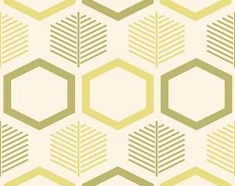 Modern Pillow Sham, Leaf Pattern Sham, Beige Bed Pillow, Green Yellow Pillow, Leaves Pillow Cover, Octagon Pillowcase, Standard Size Pillow