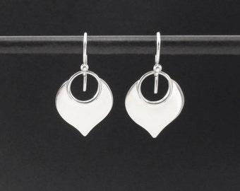 Lotus Petal Earrings Sterling Silver Lotus Earrings, Lotus Dangle Drop Earrings, Simple Drop Earrings, Yoga Jewelry