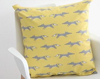 Decorative Pillow cover, Yellow Fox Pillow Case