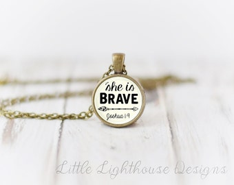Petite She Is Brave Necklace Brave Pendant Necklace Christian Jewelry Christian Necklace Inspirational Gift Scripture