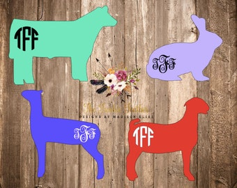 Stock Show Decal w/ Monogram | Show Animal Decal | Show Pig Decal | Show Steer Decal | Show Lamb Decal | Show Rabbit Decal | Livestock Decal