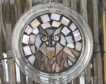 Owl Stained Glass Mosaic Suncatcher Canning Lid
