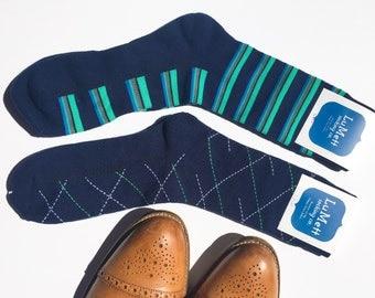 Two pairs of navy men's dress socks, Groomsmen wedding sock set, dress socks, fashion socks, navy socks, navy dress socks, cool comfy socks