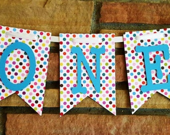Multi- Colored High Chair Banner, Happy Birthday Banner, One Banner, I Am One Banner, I Am Two Banner