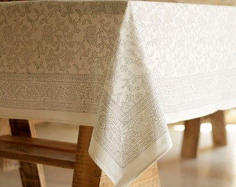 Rectangle tablecloth, tablecloth rectangle, white tablecloth, floral tablecloth, table decor, table cloth, cotton tablecloth, jemma