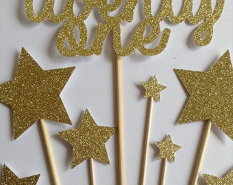 Gold 21st Birthday Cake Toppers, Gold Glitter Twenty One & Star Cake Toppers, Birthday Cake Toppers, Assortment Pack