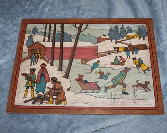 Vintage Colonial Times Picture on Wood, Painted, Colorful, Covered Bridge, Ice Skating, Making Fire, Sledding, Winter Activities, Great FIND