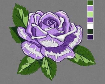 embroidery design Rose Flower 4x4 pes hus jef, dst in zip