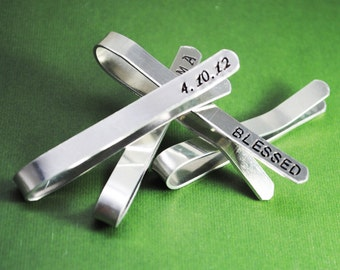 Customizable Tie Bar - Sturdy Aluminum - Handmade and Handstamped With Anything You Want!