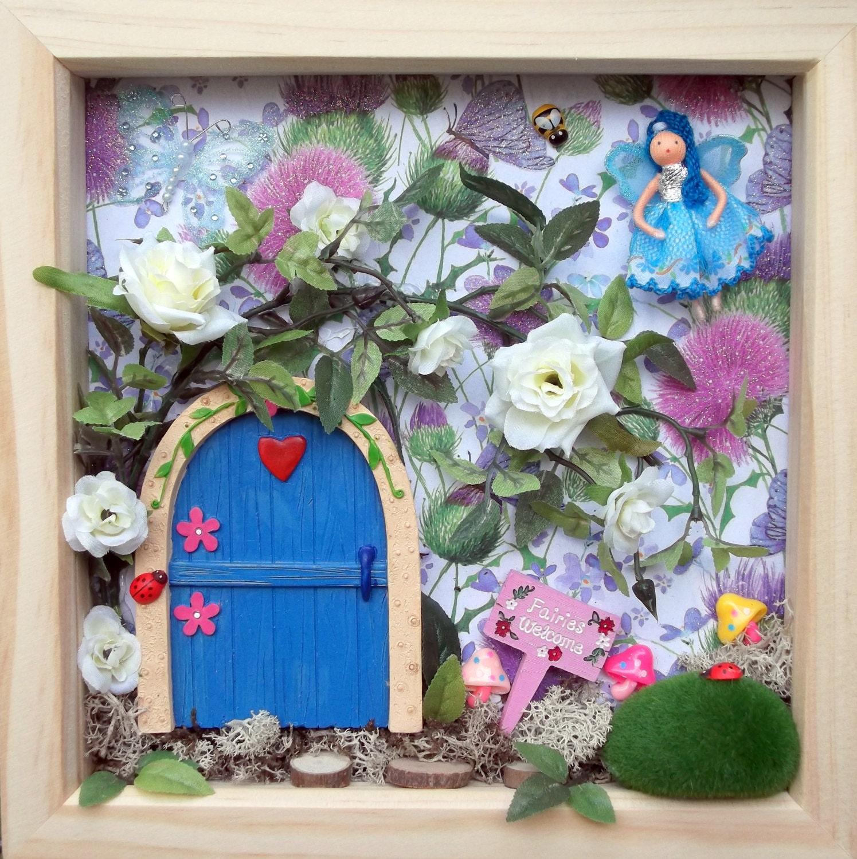 Fairy door fairy frame fairy garden wall art secret garden for Fairy door wall art