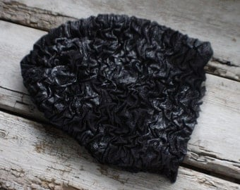 black  hat, fun winter hat, slouchy hat, slouch, hat, upcycled, gift, stretch, kids, adult, gift for her him