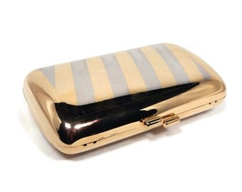 Vintage Metallic Gold Hard Case Clutch Purse Evening Bag with Silver Stripped Design, Gold Metal Chain