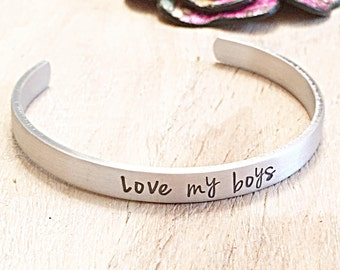 Mom of Boys, Mother Son Jewelry, Mother Son Gift, Mother Son Bracelet, Love my Boys, Mother Daughter Bracelet, Handstamped Cuff, Personalize