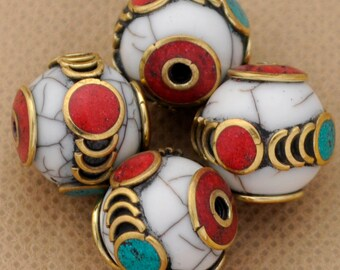 4 Beads  - Brass  Tibetan Nepalese Nepali Turquoise  Coral Resin Inlaid Tibet Nepal B82